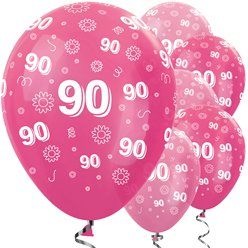 "90th Birthday Pink Mix Balloons - 12"" Latex"