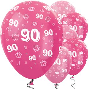 90th Birthday Pink Mix Balloons - 12