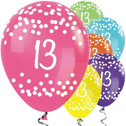 13th Birthday Tropical Mix Dots Balloons - 12 Latex