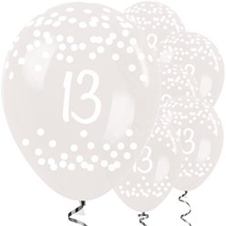 13th Birthday Clear Dots Balloons - 12 Latex