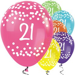 "21st Birthday Tropical Mix Dots Balloons - 12"" Latex"