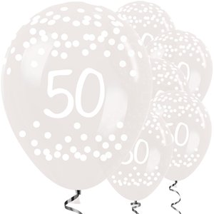 50th Birthday Clear Dots Balloons - 12