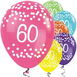 "60th Birthday Tropical Mix Dots Balloons - 12"" Latex"