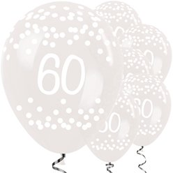 "60th Birthday Clear Dots Balloons - 12"" Latex"