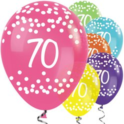 "70th Birthday Tropical Mix Dots Balloons - 12"" Latex"