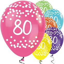 "80th Birthday Tropical Mix Dots Balloons - 12"" Latex"