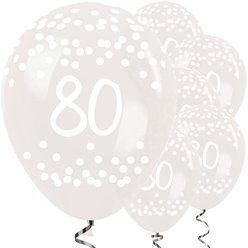 "80th Birthday Clear Dots Balloons - 12"" Latex"