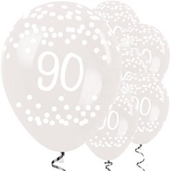 "90th Birthday Clear Dots Balloons - 12"" Latex"