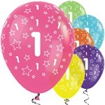 "1st Birthday Tropical Mix Stars Balloons - 12"" Latex"