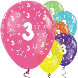 "3rd Birthday Tropical Mix Stars Balloons - 12"" Latex"