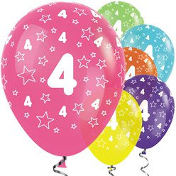 "4th Birthday Tropical Mix Stars Balloons - 12"" Latex"