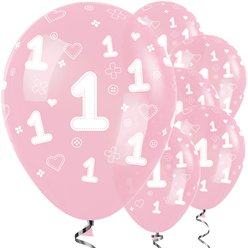 "Pink 1st Birthday Girl Balloons - 12"" Latex"