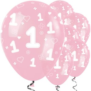 Pink 1st Birthday Girl Balloons - 12