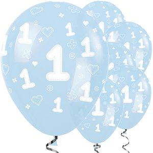 Blue 1st Birthday Boy Balloons - 12