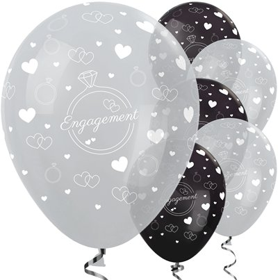"Silver & Black Engagement Balloons - 12"" Latex"