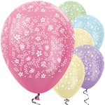 "Satin Pastel Flowers Balloons - 12"" Latex"