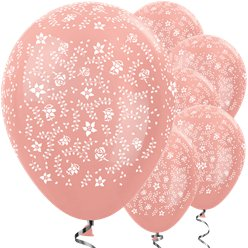 Metallic Rose Gold Flowers Balloons - 12 Latex