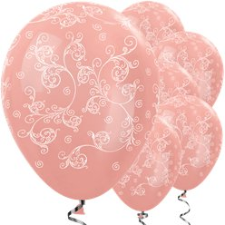 "Metallic Rose Gold Filigree Balloons - 12"" Latex"