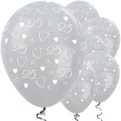 "Satin 25th Silver Anniversary Balloons - 12"" Latex"