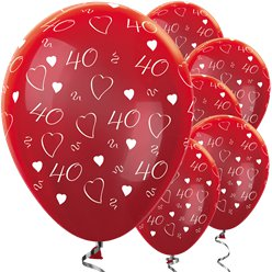 "Metallic 40th Ruby Anniversary Balloons - 12"" Latex"