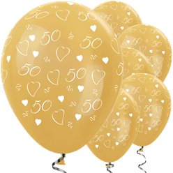 "Metallic 50th Gold Anniversary Balloons - 12"" Latex"