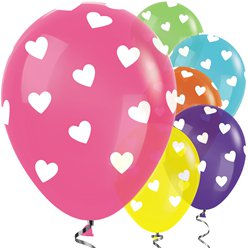Tropical Mix Hearts Balloons - 12
