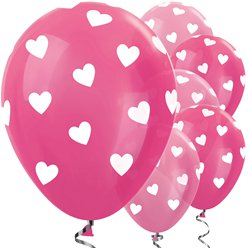 Pink Mix Hearts Balloons - 12