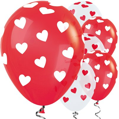 "Red White Hearts Balloons - 12"" Latex"