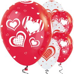"Red & White Polka Dot Hearts  Balloons - 12"" Latex"