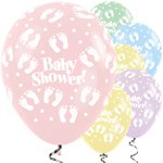 "Satin Pastel Mix Baby Shower Balloons - 12"" Latex"