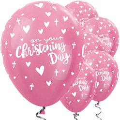 "Satin Pink Christening Balloons - 12"" Latex"