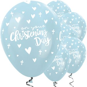 Satin Blue Christening Latex Balloon - 12