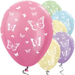 Satin Pastel Mix Butterfly Balloons - 12