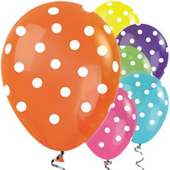 "Tropical Mix Polka Dot Balloons - 12"" Latex"