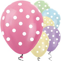 "Satin Pastel Mix Polka Dot Balloons - 12"" Latex"