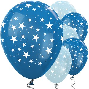 Blue Mix Star Balloons - 12