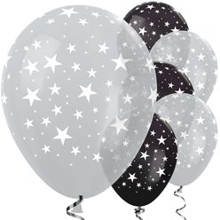 "Silver & Black Star Balloons - 12"" Latex"