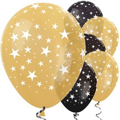 "Gold & Black Star Balloons - 12"" Latex"
