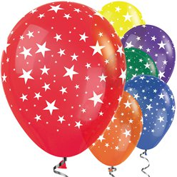 "Bright Mix Star Balloons - 12"" Latex"