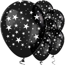 "Black Star Balloons - 12"" Latex"