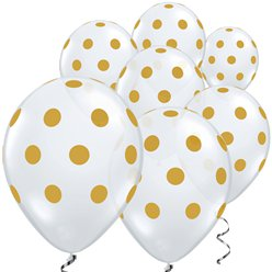 "Gold Big Polka Dots Balloons - 11"" Latex"