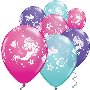 Mermaid Assorted Blues & Purples Balloons - 11