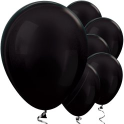 Black Metallic Balloons - 12 Latex Balloons