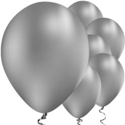 "Silver Chrome Balloons - 11"" Latex"