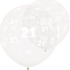 "Crystal Clear 21st Birthday Stars Giant Balloons - 36"" Latex"