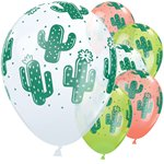 "Cactuses White, Coral & Lime Green Balloons - 11"" Latex"