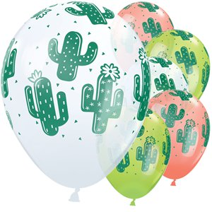 Cactus Balloons - White, Coral & Lime Green - 11