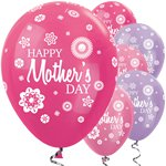 "Satin Fuchsia & Lilac Mothers Day Balloons - 12"" Latex"