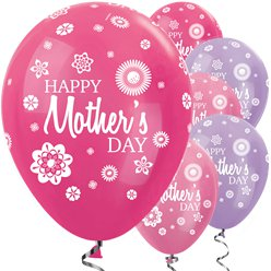 "Satin Fuchsia & Lilac Mother's Day Balloons - 12"" Latex"