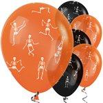 "Orange Black Skeleton Balloons (12"" Latex)"